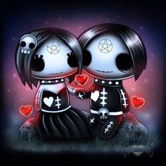 Frightlings: Happy World Goth Day! Ebony and Eli Gothling. Voodoo Doll Tattoo, Voodoo Dolls, Emo Art, Goth Art, Halloween Drawings, Halloween Art, Creepy Pictures, Art Pictures, Gothic Poems
