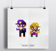 Waluigi et Wario Nintendo 8 bits Pixel Design Concepts par Eivven