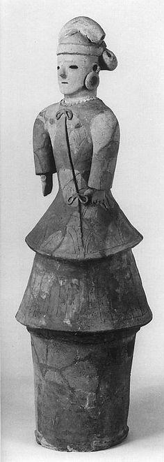 A woman of the gala dress. The Kofun period (AD.250-AD.592) art, Haniwa terracotta clay figure. Isezaki-city Gunma Japan.