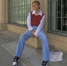 Adrette Outfits, Skater Girl Outfits, Neue Outfits, Retro Outfits, Cute Casual Outfits, Fall Outfits, Vintage Outfits, Fashion Outfits, Outfits With Vests