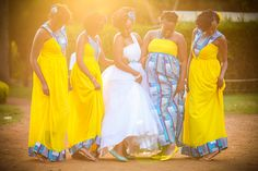 8 Different Looks for Your Bridesmaids - Kenya Weddings : Wedding Gowns African Attire, African Fashion Dresses, African Dress, African Print Dress Designs, African Design, Brides And Bridesmaids, Bridesmaid Dresses, Kenyan Wedding, African Wedding Dress
