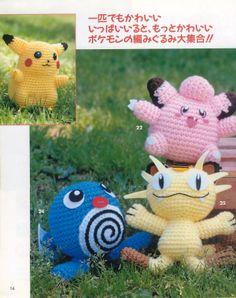 Pokemon Characters Amigurumi - Free Japanese Pattern here: http://g0anna.blogspot.com.es/2010/06/munecos-pokemon-en-amigurumi.html#more