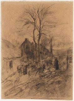 tekening, herder met schapen langs een rij huis. Anton Mauve.
