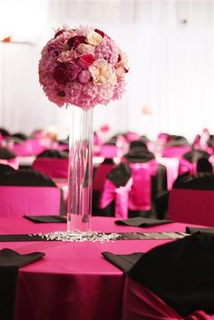 Peonies And Rose Centerpiece For A Pink Black Theme Wedding Notice The Bling Crystals