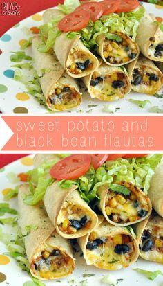 Baked Sweet Potato and Black Bean Flautas