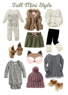 Fall Mini Style ~ I luv the fur vest & golden hearts onesie!