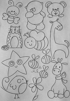 Art Drawings For Kids, Doodle Drawings, Drawing For Kids, Animal Drawings, Doodle Art, Easy Drawings, Art For Kids, Baby Embroidery, Hand Embroidery Designs
