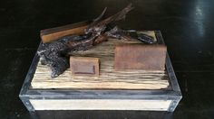 Rust Leather timber, Iron stand.  Thia was built on 2 separate occasions