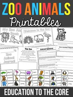 Zoo animal printable pack and freebie. zoo animals activity and video! Zoo Preschool, Preschool Themes, In Kindergarten, Preschool Printables, Zoo Animal Activities, Literacy Activities, Reading Activities, Abc Zoo, Zoo Book