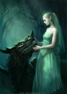This is me and my pet dragon. I am Ebony, and I am half werewolf and half elf. I now have long brown hair and can control the weather and have fire and water powers.