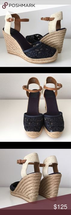 """TORY BURCH LUCIA LACE WEDGE ESPADRILLE, SIZE 10 TORY BURCH LUCIA LACE WEDGE ESPADRILLE IN NAVY-BLUE-TAN, SIZE 10, WEDGE HEEL 4.5"""", PLATFORM 1"""", BRAND NEW WITH BOX AND DUST BAG Tory Burch Shoes Espadrilles"""