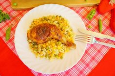 Pečená kuřecí stehna s rýží z jednoho pekáče Risotto, Meat, Ethnic Recipes, Food, Essen, Meals, Yemek, Eten