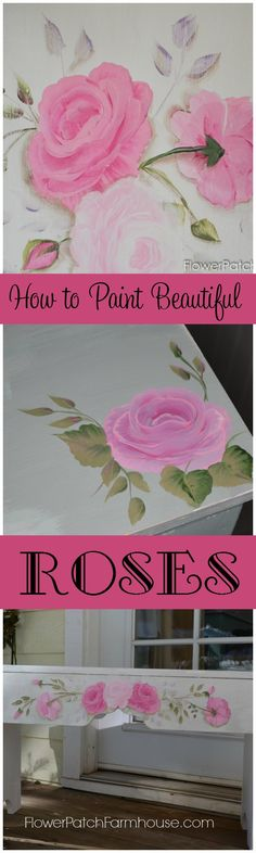 Learn How to Paint Beautiful Roses, one stroke at a time. It is easier than you think. Paint bouquets on furniture, signs, and on canvas. Paint with your kids, yes they can master this too! Come paint roses with me. FlowerPatchFarmhouse.com