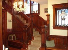 Gorgeous Victorian staircase with two benches