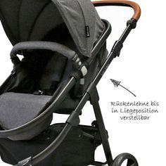 Preiswerter Kombi-Wagen mit Babywanne, Sportwagenaufsatz mit verstellbarer Rückenlehne und gefederten Luftkammerrädern.