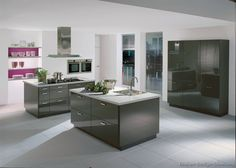 All Galleries - European Kitchen Design Grey Kitchen Walls, Modern Grey Kitchen, Steel Kitchen Cabinets, Grey Cabinets, Kitchen Cabinet Design, Kitchen Colors, Gray Walls, Kitchen Table Chairs, Kitchen Table Makeover