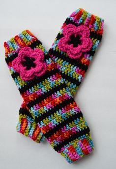 Crochet Leg Warmers for Girls Rainbow Striped by OverTheAppleTree