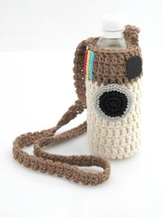 ADORABLE Instagram Water Bottle Holder. Crochet. Tote.. $13.99, via Etsy, EuniceNeedlecraft