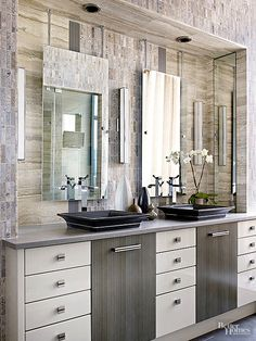 A symmetrical approach maintains a sense of balance in this busy bathroom.