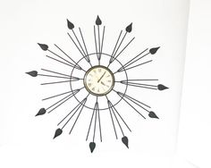 Vintage Starburst Wall Clock - Mid Century Modern Wall Clock - Sun Burst Clock