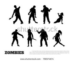 Set of black silhouettes of zombies on white background. Isolated image of undead monster. Vector illustration