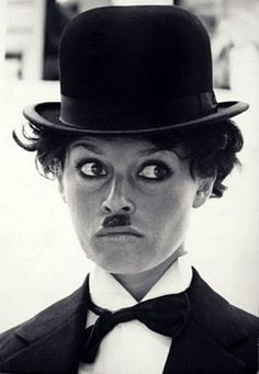 "brigitte bardot as charlie chaplin OKay... I'll let you be on the ""MEN"" board bb."