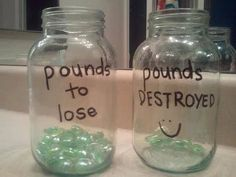 Pounds to lose, pounds DESTROYED.  Great idea using mason jars and glass pebbles.