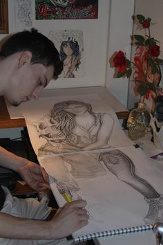 """Attempting a large drawing spanning 2 pages≈48"""" Total..""""i like to mix it up i don't like drawing on paper all the time. Sometimes ill need to draw on walls, couches, cardboard, any smooth surface other then paper."""""""