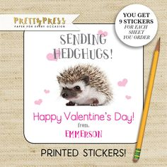 Hedgehog VALENTINE Stickers, Hedghugs Kids Stickers, Gift Stickers, Personalized Valentine Sticker, baby hedgehog, Valentine Treat Sticker by prettypress on Etsy