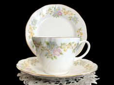 Queens Diana Tea Cup Trio Cup Saucer Plate by TheVintageTeacup