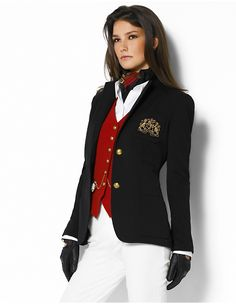 Love the black Ralph Lauren blazer will red vest and riding gloves.