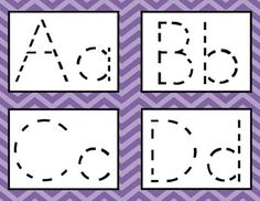 This is a PDF file containing printable alphabet tracing cards. Each letter card contains both uppercase and lowercase letters. The letters are dotted and on a purple chevron background (graphics by Ashley Alphabet Writing, Alphabet Cards, Preschool Literacy, Learning The Alphabet, Pre Writing, Printable Alphabet, Tracing Letters, Uppercase And Lowercase Letters, Alphabet Activities