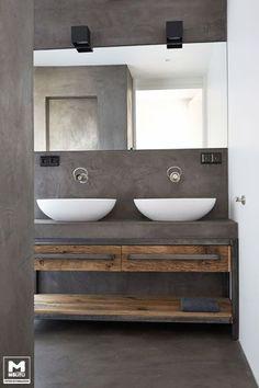 Idée décoration Salle de bain  Trots op dit door ons ontworpen en gemaakte badkamermeubel. Staal betonstuc e