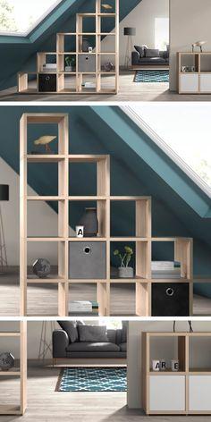 Würfelregal BOON – modulares System zum selber bauen Chic room divider for the living room-dining area – Home, Bedroom Design, House, Room Divider Shelves, Loft Room, Attic Design, Shelving, Room, Cube Shelves