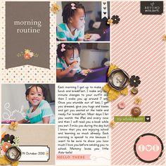 morning routine layout by Tronesia #scrapbook #digitalscrapbook