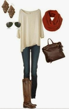 Casual Fall Outfit With Oversized Blouse,Scarf and Handbag