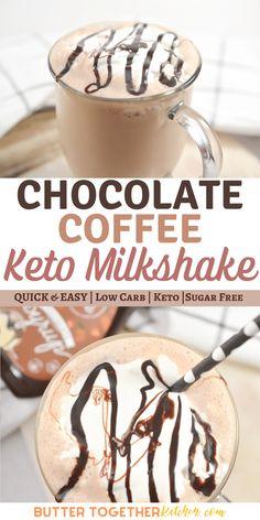 Keto Milkshake, Coffee Milkshake, Milkshake Recipes, Smoothie Recipes, Smoothies, Keto Coffee Recipe, Coffee Recipes, Low Carb Keto, Low Carb Recipes