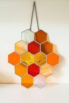 Honeycomb, Stained Glass Panel, Suncatcher, Bumble Bee, Geometric Wall Art, Tiffany, Suncatcher, Mid Century Modern, Sandinavian, Wedding