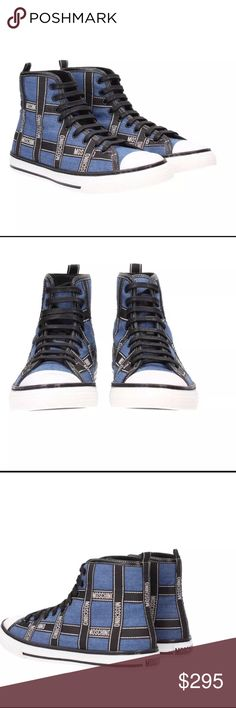 Men'S Moschino high top sneakers Composition: Calfskin, Textile fibers Details: denim, logo, two-tone 100% authentic!!! FYI this Sneaker runs big.... Moschino Shoes Sneakers