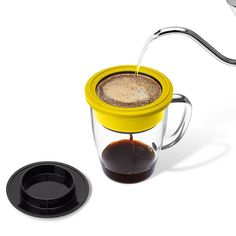 Amazon.com | Pour Over Coffee Maker | Built-in Stainless Steel Dripper with Coffee Cup | Temperature Resistant Borosilicate Glass | Reusable Paperless Filter | Environmentally Friendly | BPA Free & FDA Approved: Coffee Cups & Mugs