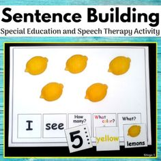 Sentence Building Activity for Speech Therapy and Autism - Real Time - Diet, Exercise, Fitness, Finance You for Healthy articles ideas Autism Activities, Speech Therapy Activities, Language Activities, Vocabulary Activities, Speech Language Therapy, Speech And Language, Speech Pathology, Language Arts, Nonverbal Autism