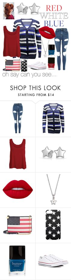 """""""Red, White & Blue: Celebrate the 4th"""" by green-melissa-e ❤ liked on Polyvore featuring Topshop, WearAll, Bling Jewelry, Lime Crime, Diamond Star, Draper James, Butter London and Converse"""