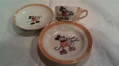 Vintage 1930's Painter Mickey Mouse Child's Tea Set Cup Saucer Plate Lusterware