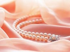 Coral /Peach pearls on Satin. Shades Of Peach, Peach Blush, Peach Rose, Color Melon, Pearl And Lace, Peach Blossoms, Just Peachy, Peach Colors, Pearl Jewelry