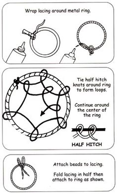 Dream Catcher Cr-Afternoon Inspiration  Instructions:            Wrap the ring: Spread glue on first inch of suede lacing and