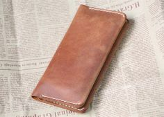 handstitch distressed leather iphone 6 wallet by abbycraftshop