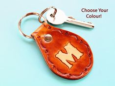 Click To Shop Now - Handmade Personalised Initial Leather Keyring, Hand-Stamped Leather Keychain. #personalised #initial #leather #keyring #keychain #handtooled Leather Bookmark, Leather Keyring, Leather Gifts, Handmade Leather, Leather Tooling, Leather Anniversary Gift, Great Anniversary Gifts, Personalised Keyrings, Personalized Gifts