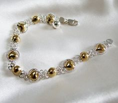 Vintage Bracelet Sterling Silver and 18k Gold by InVogueJewelry, $33.00