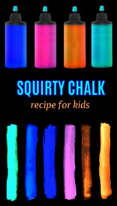 Make sidewalk squirty chalk that glows in the dark! My kids absolutely loved this activity! Summer Activities For Kids, Fun Crafts For Kids, Preschool Crafts, Diy For Kids, Kids Fun, Glow In Dark Party, Glow Stick Party, Glow Sticks, Diy Silly Putty