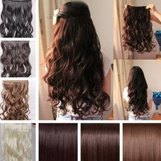 2017 Long New Women Hair Extensions Human Made Wavy Curly/Straight Synthetic Clip In On Curly Iron, Wavy Hair Extensions, Full Hair, New Woman, Long Hair Styles, Beauty, Women, Hair Products, Free Shipping